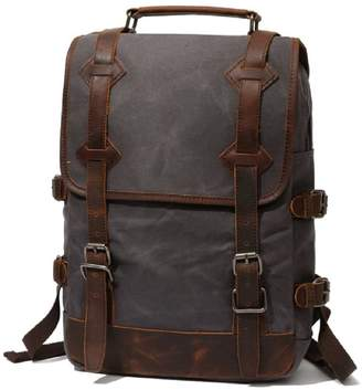 EAZO - Waxed Canvas Backpack With Leather Handle In Grey