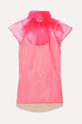 Prada Bow-embellished Neon Silk-organza Top - Pink