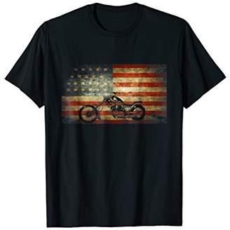 Motorcycle American Flag patriotic vintage July 4th shirt