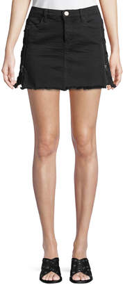 Blank NYC Lace-Up Front-Zip Denim Skirt