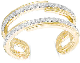 Zales 1/3 CT. T.W. Diamond Two Row Cuff Ring in 10K Gold