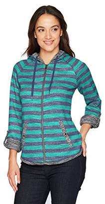 Ruby Rd. Women's Petite Zip-Front Striped Slub French Terry Jacket with Hood