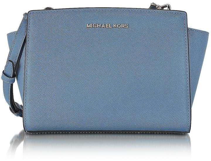 Michael Kors Selma Denim Saffiano Leather Mini Messenger