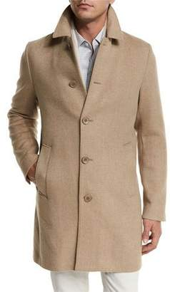 Loro Piana Dweller Wool-Cashmere Single-Breasted Coat, Desert Rose Melange/Gray Ice $3,595 thestylecure.com