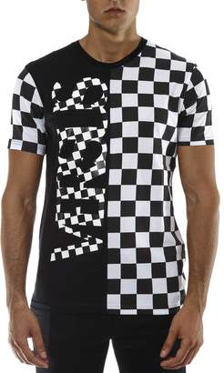 Versace Black & White Check Cotton T-shirt