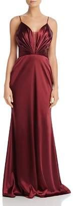 Aqua Mesh Inset Satin Gown - 100% Exclusive