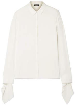 Akris Draped Silk-crepe Shirt - Off-white