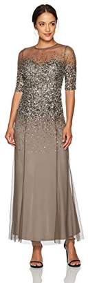 Adrianna Papell Women's Petite Beaded Illusion Gown With Sweetheart Neckline