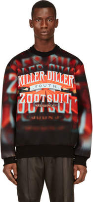 Juun.J Red and Orange Neoprene Killer Diller Sweatshirt