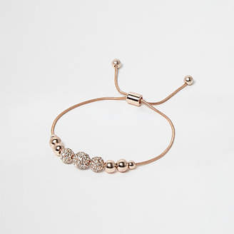 River Island Rose gold tone embellished thread bracelet