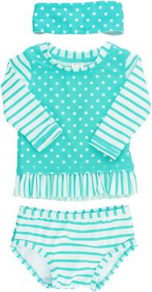 RuffleButts Rashguard Two-Piece Swimsuit & Head Wrap Set