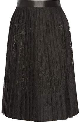 Givenchy Satin-Trimmed Pleated Skirt In Black Lace