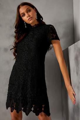 Yumi Womens London Lace Shift Dress - Black