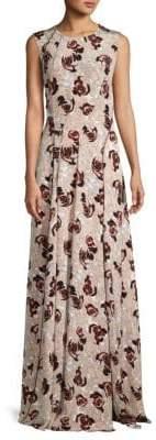 Oscar de la Renta Sleeveless Floral Silk Dress