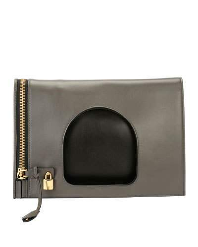 Tom Ford TOM FORD Alix Ombré Fold-Over Bag, Light Gray