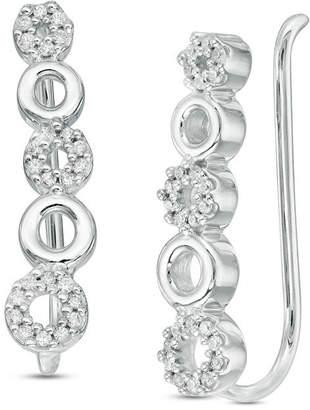 Zales 1/6 CT. T.W. Diamond Alternating Circle Crawler Earrings in Sterling Silver