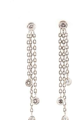 14K White Gold and 0.93cts Diamond 3 Row Cable Chain Dangle Earrings