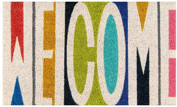 Blue & Green € ̃Welcome€TM Coir Doormat