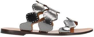 Chloé Silver Leather Flat Sandals
