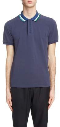 Kenzo Placket Embroidered Tipped Pique Polo