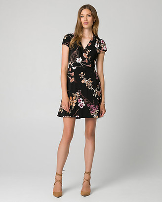 Le Château Floral Print Knit Faux Wrap Dress