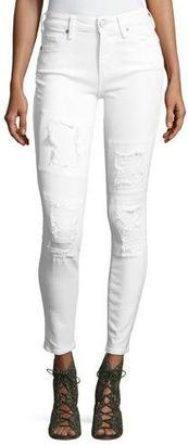 True Religion Halle Mid-Rise Destroyed Patch Skinny Jeans, Optic White $219 thestylecure.com