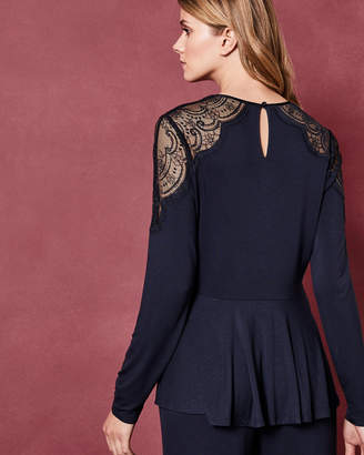 Ted Baker SHELOS Lace detail long sleeved pyjama top