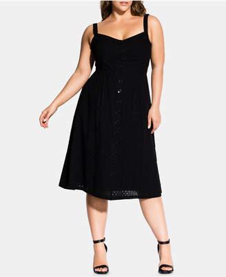 City Chic Trendy Plus Size Eyelet Midi Dress