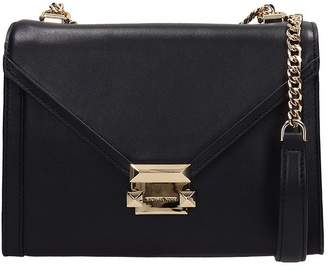 Michael Kors Whitney Large Black Leather Convertible Shoulder Bag