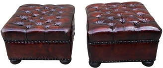 One Kings Lane Vintage English Leather Tufted Ottomans