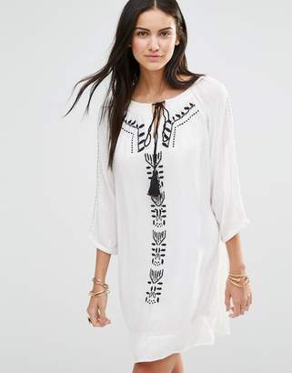 Brave Soul Long Sleeve Tunic Dress With Embroirded Panel