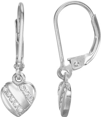 Junior Jewels Kids' Sterling Silver Cubic Zirconia Heart Drop Earrings