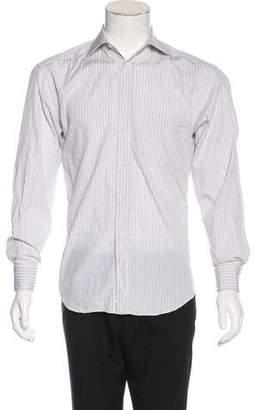 Canali Plaid French Cuff Shirt