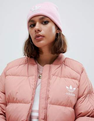 adidas Embroidered Logo Beanie In Pink