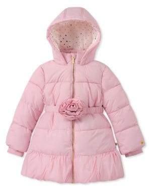 Kate Spade Girl's Quilted Rosette Puffer Coat