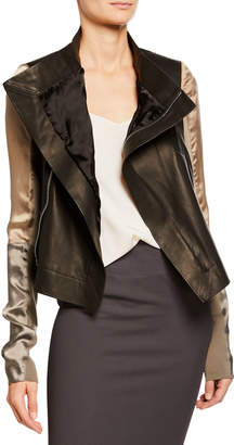 Rick Owens Silky Sleeve Leather Biker Jacket