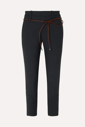 Brunello Cucinelli Belted Cropped Wool-blend Slim-fit Pants - Navy