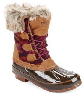 Khombu Julliard Faux Fur Accented Duck Boots $109 thestylecure.com