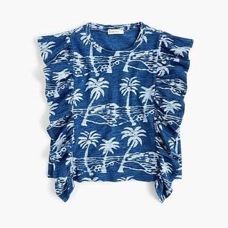 J.Crew Girls' ruffle-trimmed tank top in palm print