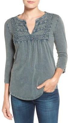 Lucky Brand Lace Yoke Split Neck Cotton Top $59.50 thestylecure.com