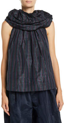 Marc Jacobs Halter Rosette-Collar Micro-Check Silk Blouse