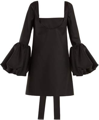 Valentino Bell-sleeve silk-crepe dress