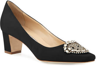 Manolo Blahnik Okkato Low-Heel Crepe Pumps Black
