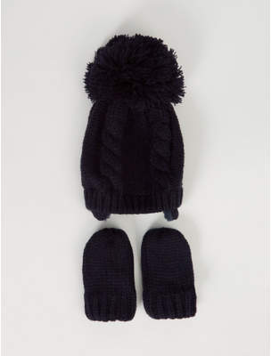 Bobble George Navy Ear Flap Hat and Mittens Set