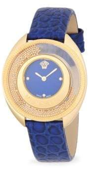 Versace Textured Round Stainless Steel and Leather-Strap Watch