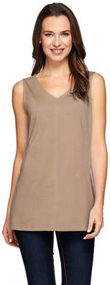 Denim & Co. Essentials Jersey V-neck Tank with Seaming Detail