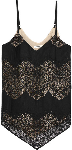 Alice + Olivia Alice + Olivia - Emmeline Crepe And Crocheted Lace Camisole - Black