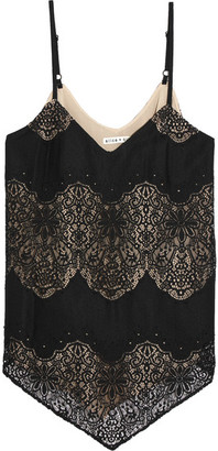 Alice + Olivia Alice Olivia - Emmeline Crepe And Crocheted Lace Camisole - Black $270 thestylecure.com