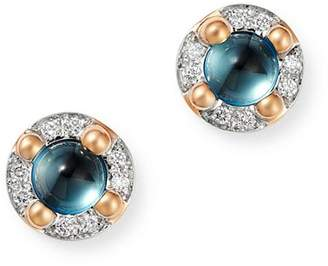 Pomellato 18K Rose Gold M'ama non M'ama London Blue Topaz & Diamond Stud Earrings