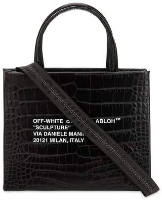 Off-White Mini Croc Embossed Leather Box Bag